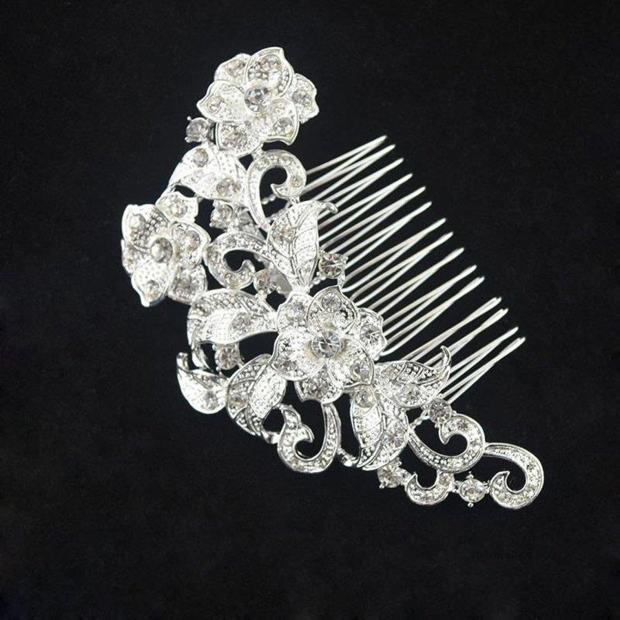 Elegante Zilverkleurige Haarkam met Fonkelende Kristallen-2