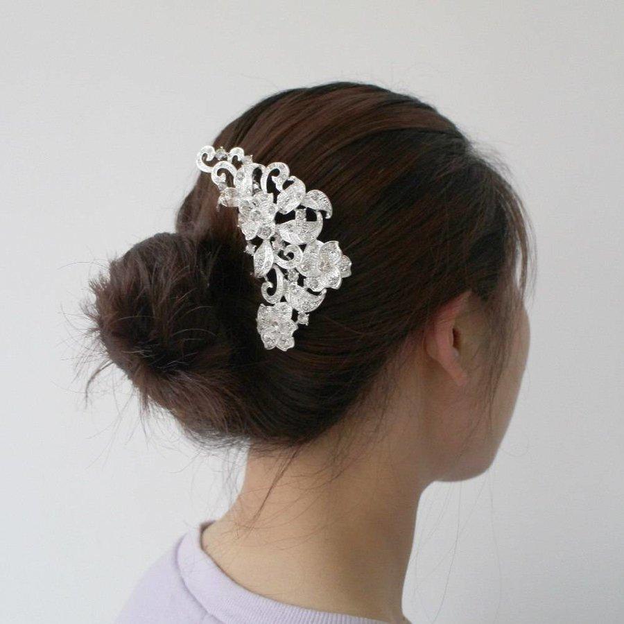 Elegante Zilverkleurige Haarkam met Fonkelende Kristallen-3