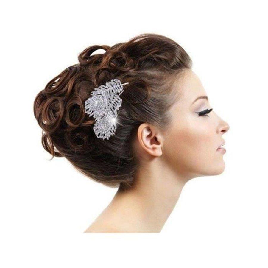 Elegante Zilverkleurige Haarkam Feather-2