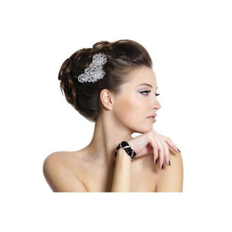 Elegante Zilverkleurige Haarkam Feather-4