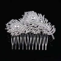 thumb-Elegante Zilverkleurige Haarkam Feather-1
