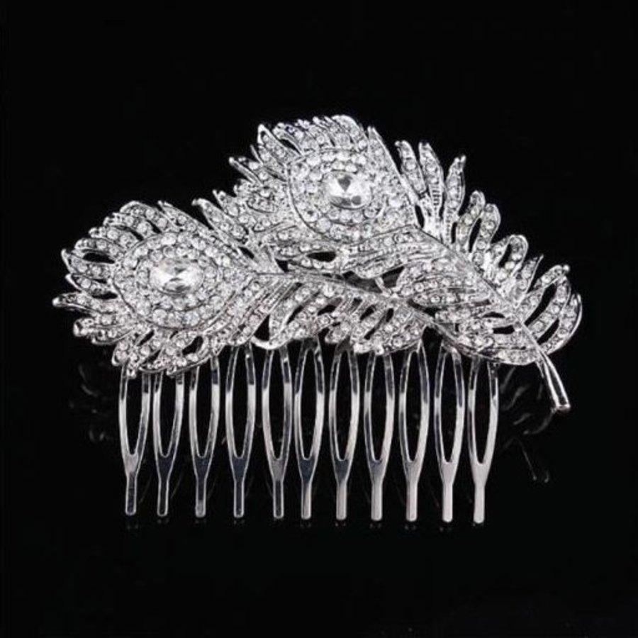 Elegante Zilverkleurige Haarkam Feather-1