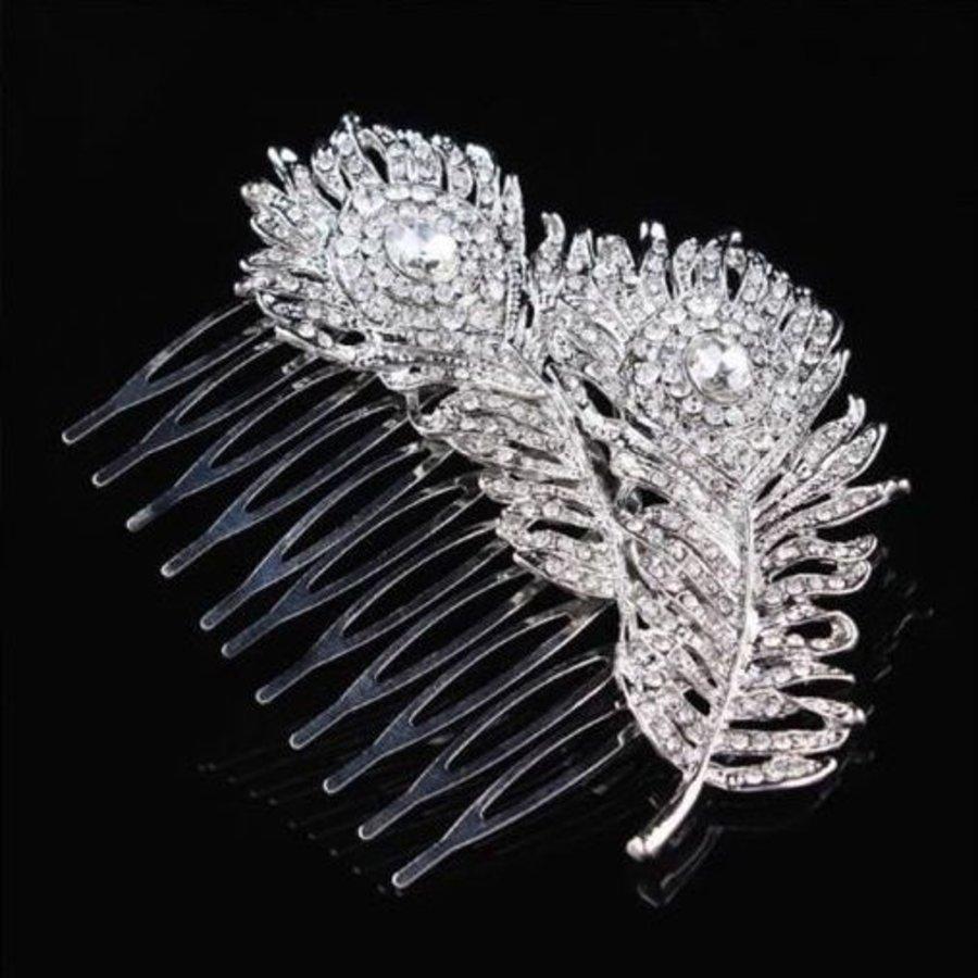 Elegante Zilverkleurige Haarkam Feather-3