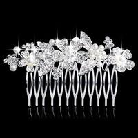 thumb-Elegante Zilverkleurige Haarkam Flowers met Ivoorkleurige Pareltjes-1