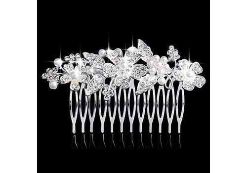 Elegante Zilverkleurige Haarkam Flowers met Ivoorkleurige Pareltjes