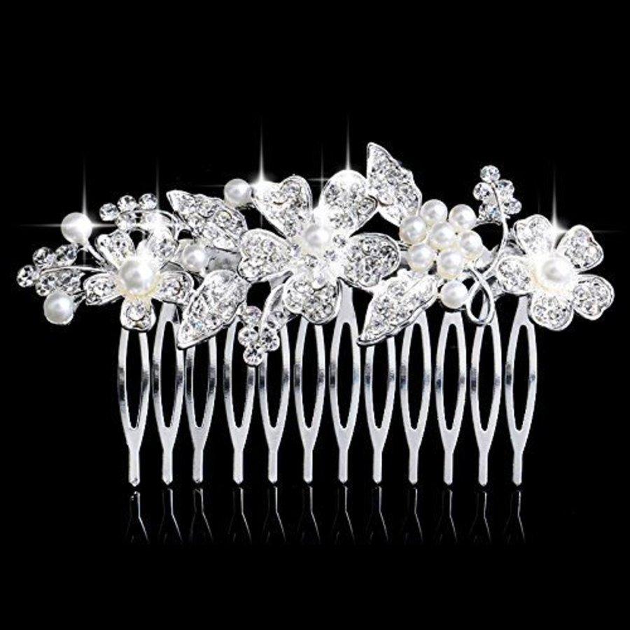 Elegante Zilverkleurige Haarkam Flowers met Ivoorkleurige Pareltjes-1