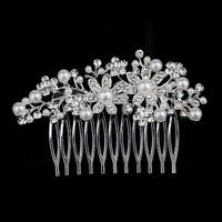 thumb-Sierlijke Zilverkleurige Haarkam Flowers met Ivoorkleurige Pareltjes-1