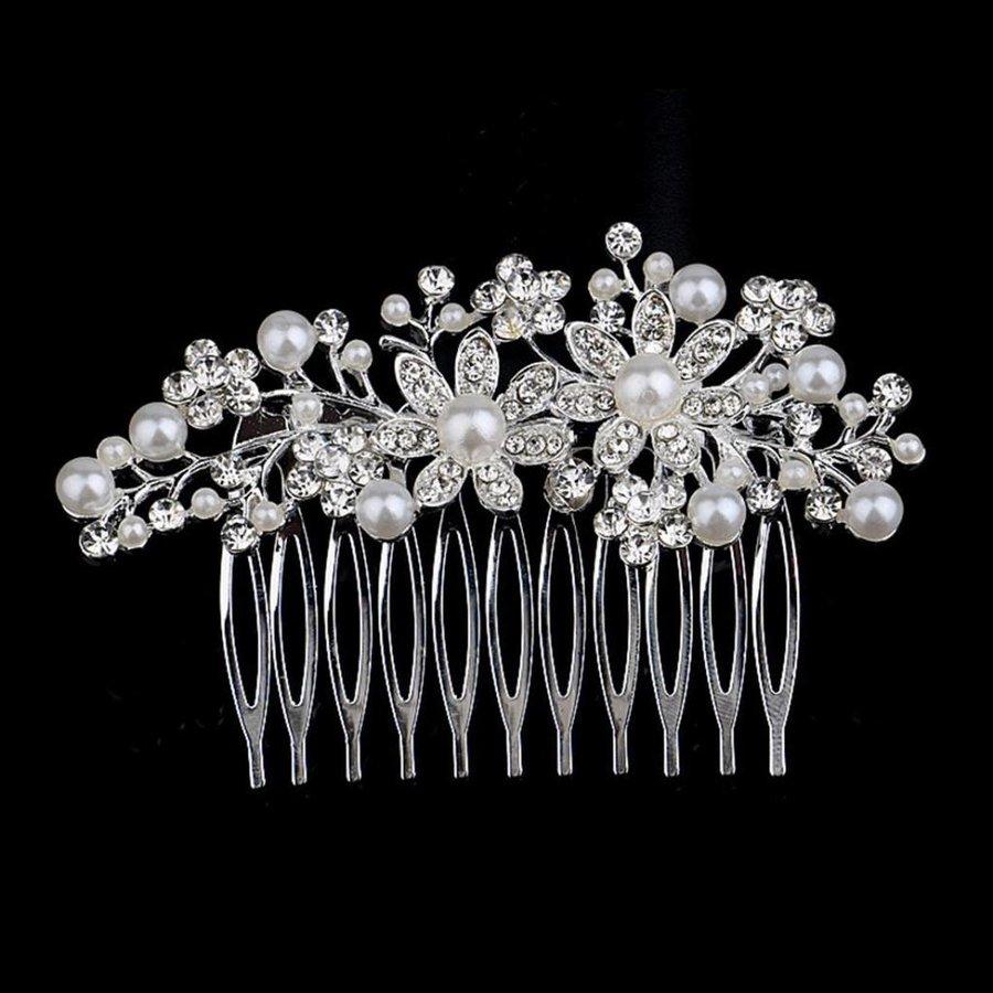 Sierlijke Zilverkleurige Haarkam Flowers met Ivoorkleurige Pareltjes-1