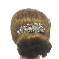 thumb-Sierlijke Zilverkleurige Haarkam Flowers met Ivoorkleurige Pareltjes-3