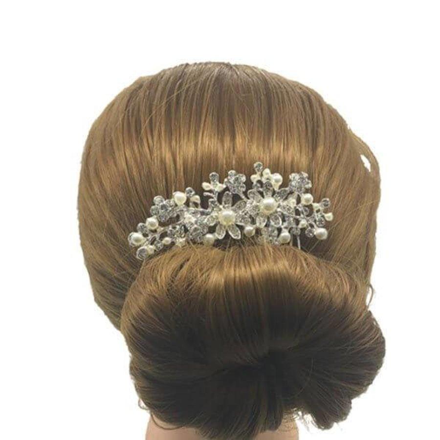 Sierlijke Zilverkleurige Haarkam Flowers met Ivoorkleurige Pareltjes-3