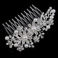 thumb-Sierlijke Zilverkleurige Haarkam Flowers met Ivoorkleurige Pareltjes-2