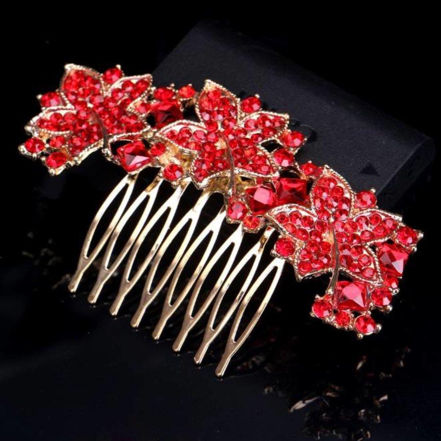 Elegante Goudkleurige Haarkam Leaves met Rode Kristallen-2