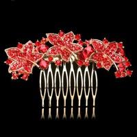 thumb-Elegante Goudkleurige Haarkam Leaves met Rode Kristallen-1