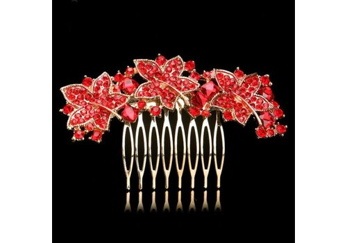 Elegante Goudkleurige Haarkam Leaves met Rode Kristallen