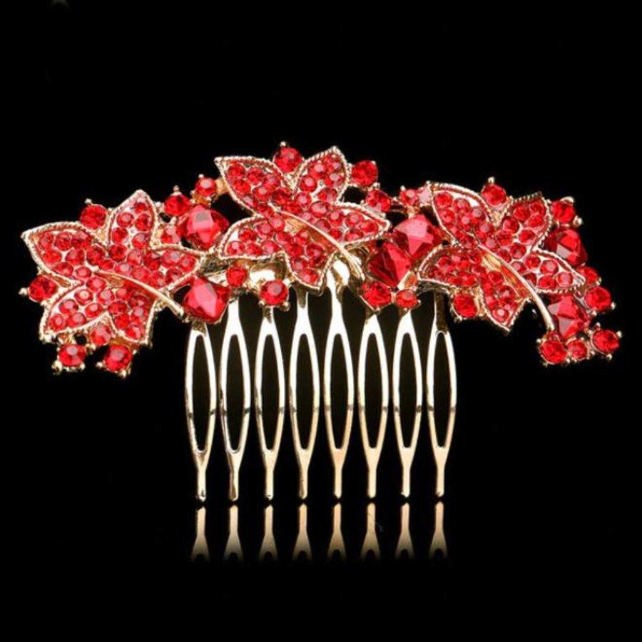 Elegante Goudkleurige Haarkam Leaves met Rode Kristallen-1