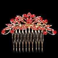 thumb-Elegante Goudkleurige Haarkam Flower met Rode Kristallen-1