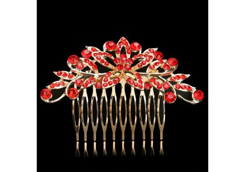 Elegante Goudkleurige Haarkam Flower met Rode Kristallen