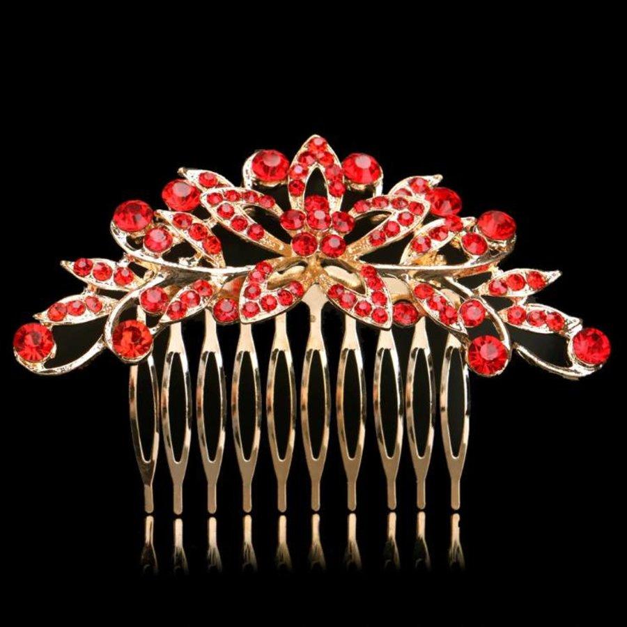 Elegante Goudkleurige Haarkam Flower met Rode Kristallen-1