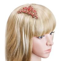 thumb-Elegante Goudkleurige Haarkam Flower met Rode Kristallen-3