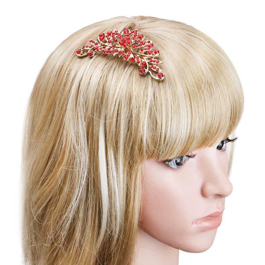 Elegante Goudkleurige Haarkam Flower met Rode Kristallen-3