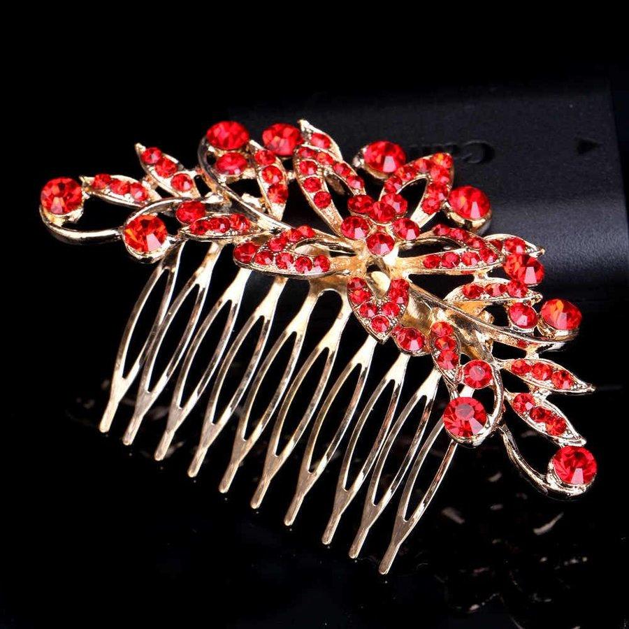 Elegante Goudkleurige Haarkam Flower met Rode Kristallen-2