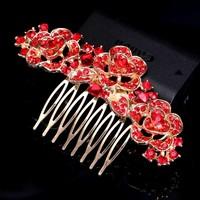 thumb-Chique Goudkleurige Haarkam Flowers met Rode Kristallen-2