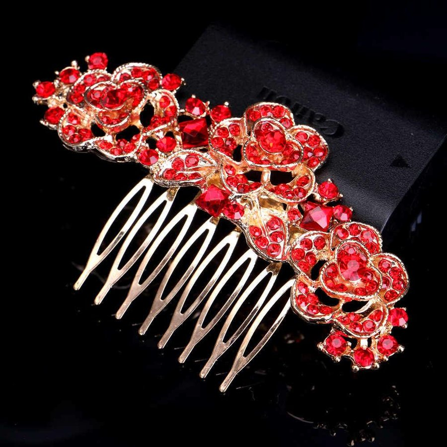 Chique Goudkleurige Haarkam Flowers met Rode Kristallen-2
