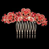 thumb-Chique Goudkleurige Haarkam Flowers met Rode Kristallen-1