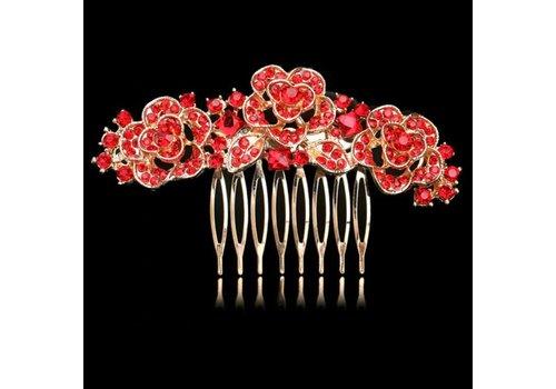 Chique Goudkleurige Haarkam Flowers met Rode Kristallen