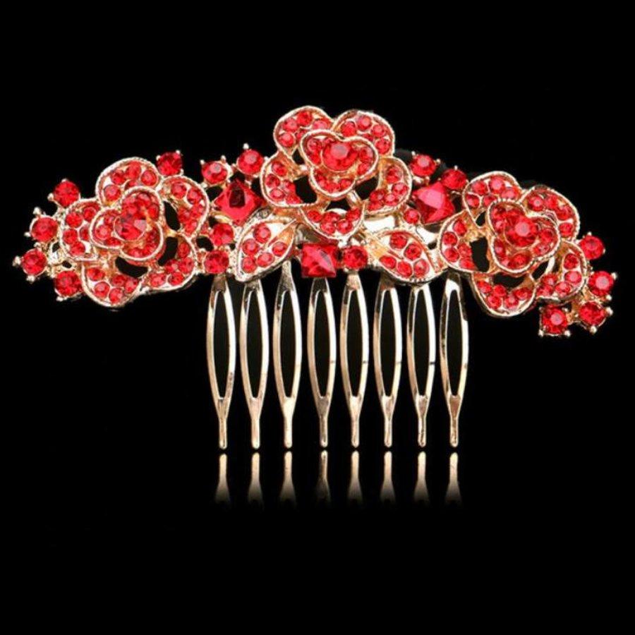 Chique Goudkleurige Haarkam Flowers met Rode Kristallen-1