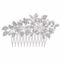 thumb-Schattige Zilverkleurige Haarkam Flower met Ivoorkleurige Parels-4