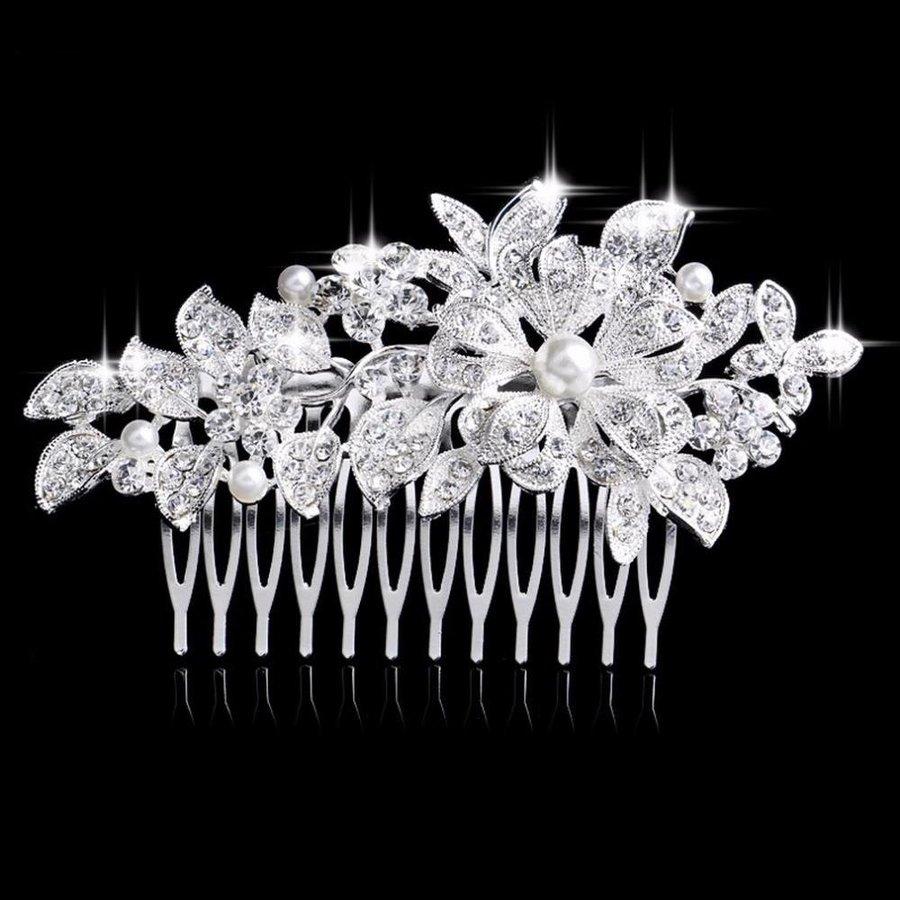 Schattige Zilverkleurige Haarkam Flower met Ivoorkleurige Parels-1