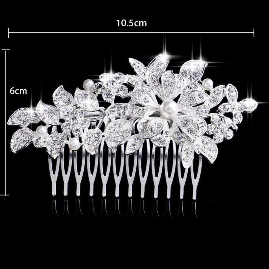 Schattige Zilverkleurige Haarkam Flower met Ivoorkleurige Parels-3