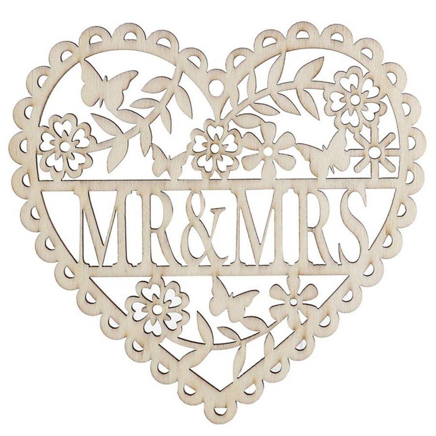 Houten Hart  - Mr & Mrs -  Decoratie - Bruiloft-2