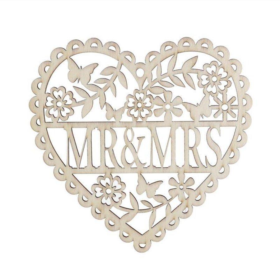 Houten Hart  - Mr & Mrs -  Decoratie - Bruiloft-5
