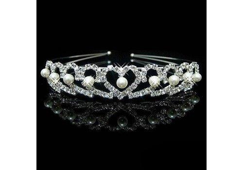 Chique Zilverkleurige Tiara / Kroon Heart