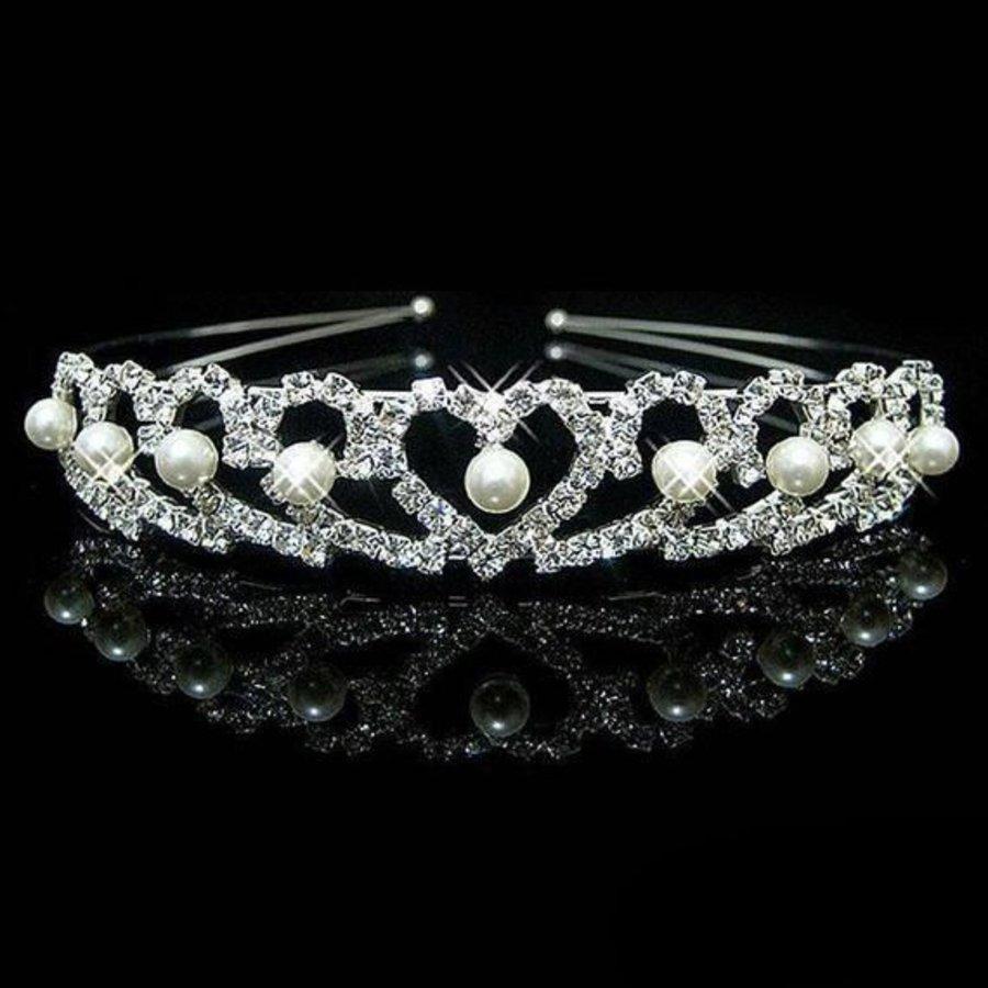 Chique Zilverkleurige Tiara / Kroon Heart-1