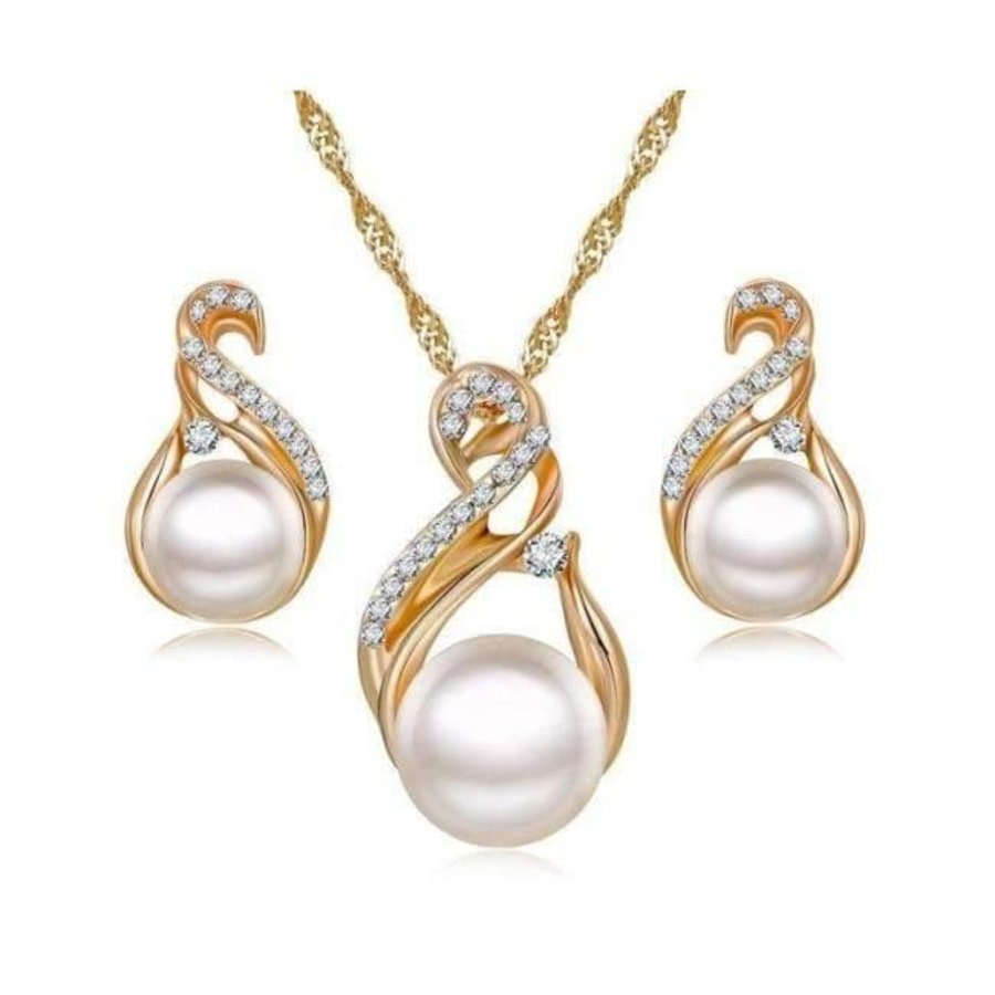 Goudkleurige Sieraden Set Pearls (Ketting & Oorbellen)-1