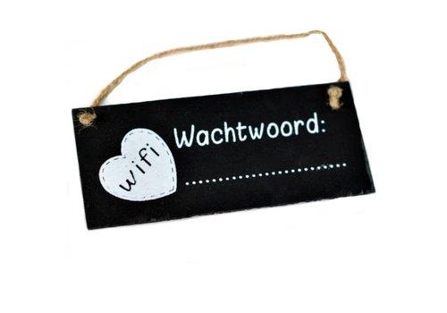 """Houten Tekstplank / Tekstbord / Krijtbord 7 x 16 cm """"WIFI Wachtwoord"""""""