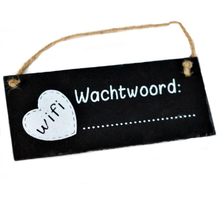 """Houten Tekstplank / Tekstbord / Krijtbord 7X16cm """"WIFI Wachtwoord""""-1"""