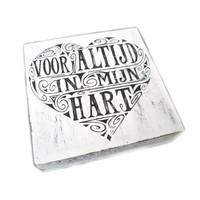 """BonTon - Houten Tekstplank / Tekstbord 15 cm """"Voor altijd in mijn hart"""" - Kleur Antique White"""