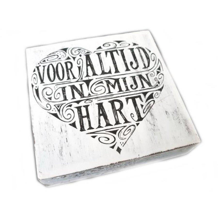 """Houten Tekstplank / Tekstbord 15cm """"Voor altijd in mijn hart"""" - Kleur Antique White-1"""
