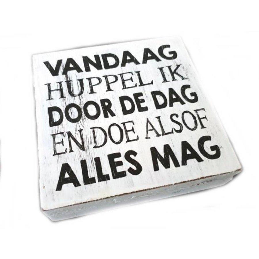 """Houten Tekstplank / Tekstbord 15cm """"Vandaag Huppel ik door de dag en doe alsof alles mag"""" - Kleur Antique White-1"""