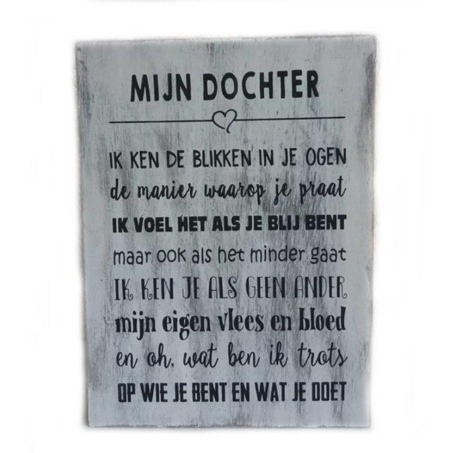 """Houten Tekstplank / Tekstbord 25X18cm """"Mijn dochter...."""" - Kleur Antique White-3"""