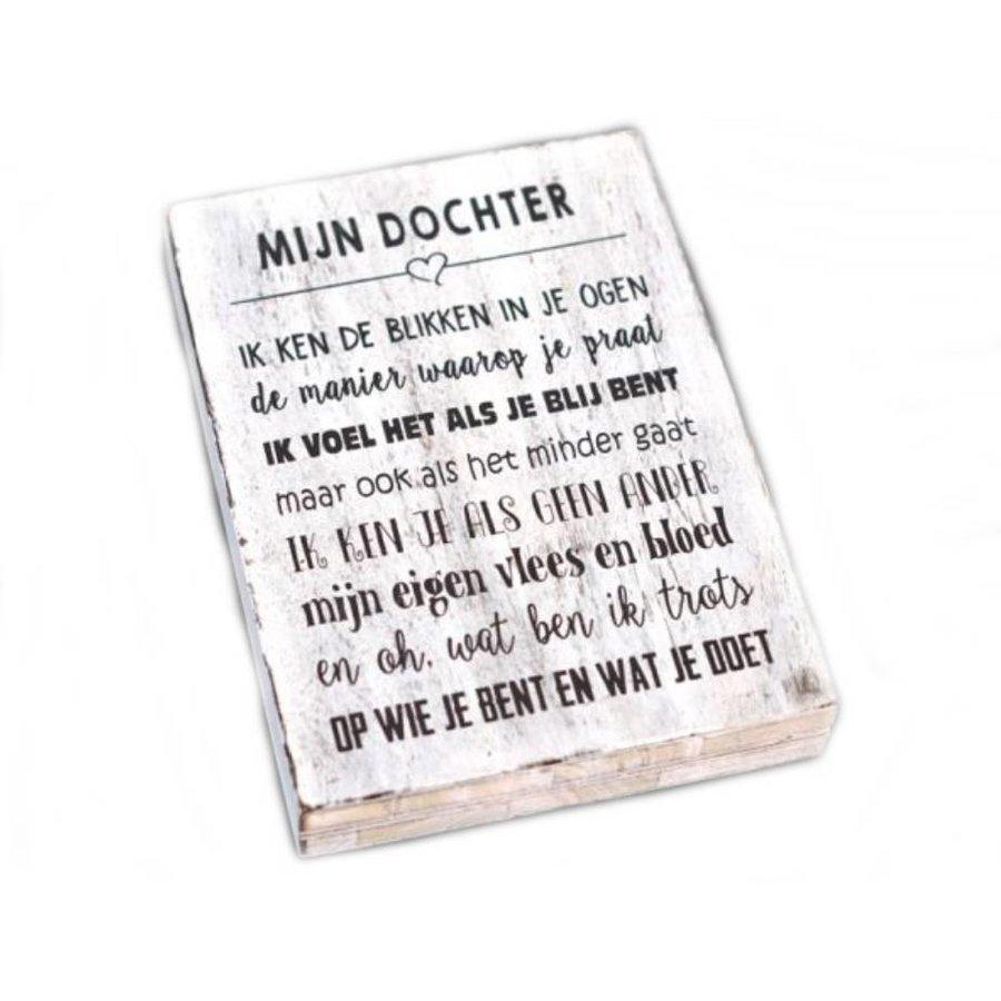 """Houten Tekstplank / Tekstbord 25X18cm """"Mijn dochter...."""" - Kleur Antique White-2"""