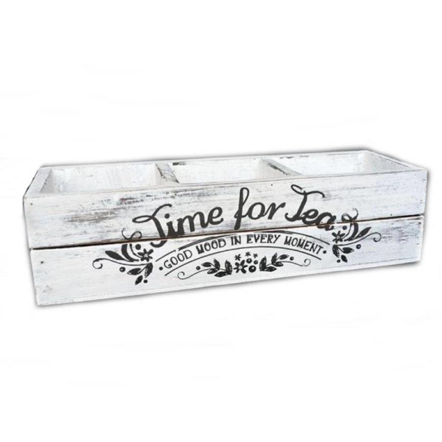 BonTon - Hout Theebakje 27 cm - Kleur Antique White-1