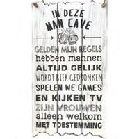"""Houten Tekstplank / Tekstbord 55x30cm """"In deze MAN CAVE..."""" - Kleur Antique White"""