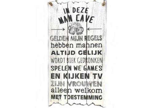 """Houten Tekstplank / Tekstbord 55 x 30 cm """"In deze MAN CAVE..."""" - Kleur Antique White"""