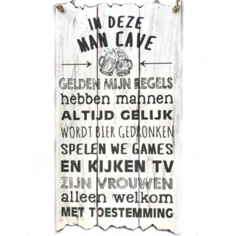 """Houten Tekstplank / Tekstbord 55x30cm """"In deze MAN CAVE..."""" - Kleur Antique White-1"""
