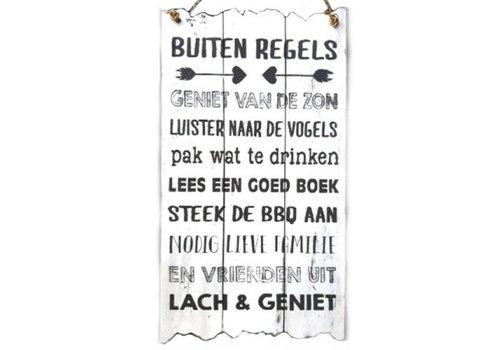 "Houten Tekstplank / Tekstbord 55x30cm ""Buiten Regels..."" - Kleur Antique White"